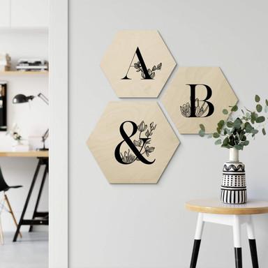 Hexagon - Holz Buchstabensteine florales Alphabet