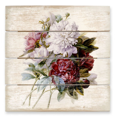 Holzbild Redouté - Strauss von roten, lila und weissen Pfingstrosen