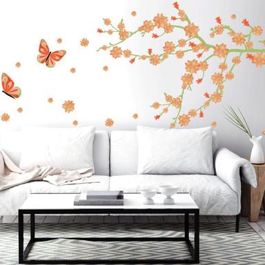 Wandsticker Frühlingsblüten mit Schmetterlingen