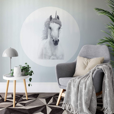 Wandtattoo Korenkova - White Unicorn - Rund
