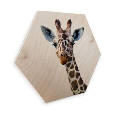 Hexagon - Holz Birke-Furnier Graves - Giraffe