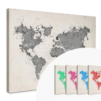 Leinwandbild Weltkarte Aquarell