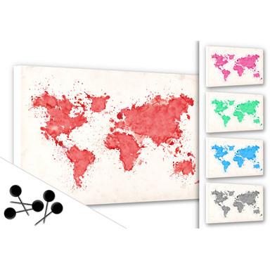Pinwand Weltkarte Aquarell inkl. 5 Pinnnadeln