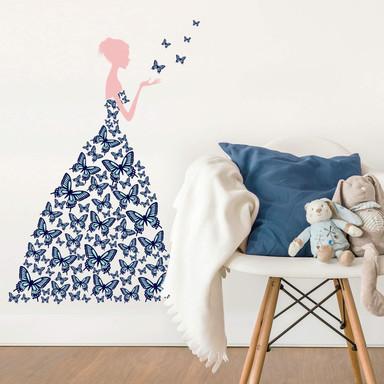 Wandsticker Lady with butterflies - blue