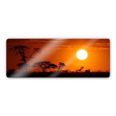 Glasbild Afrikanische Steppe Panorama