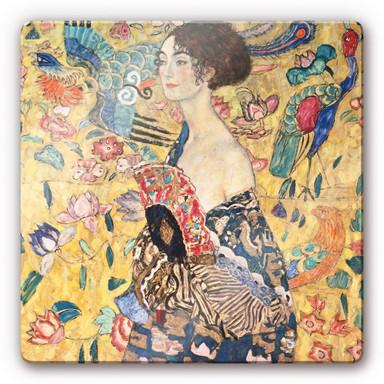 Glasbild Klimt - Dame mit Fächer