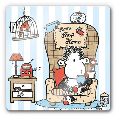 Glasbild sheepworld Home Sheep Home Tea Time