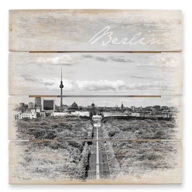 Holzbild Himmel über Berlin