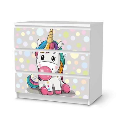 Klebefolie IKEA Malm Kommode 3 Schubladen - Rainbow das Einhorn- Bild 1