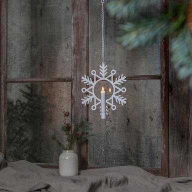 LED Kerze Flamme Snow in Weiss