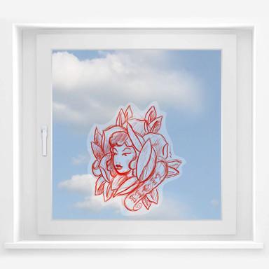 Fensterbild Miami Ink Blütengesicht
