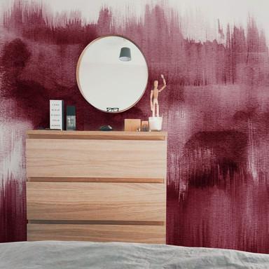 Fototapete Nouveauprints - Watercolour Brush Strokes (bordeaux)