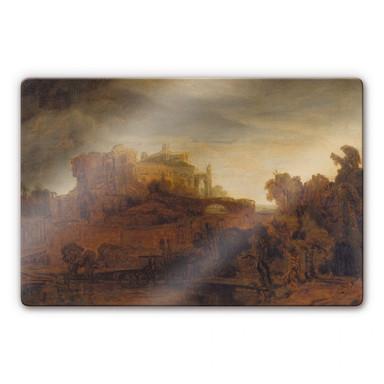 Glasbild Rembrandt - Landschaft mit Schloss