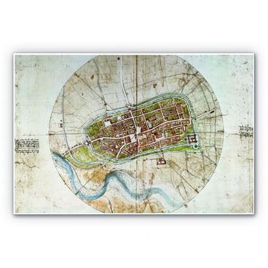 Hartschaumbild Da Vinci - Stadtplan von Imola