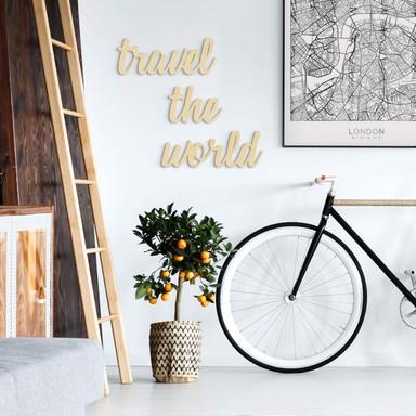 Holzbuchstaben Pappel Travel the world