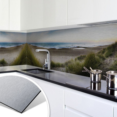 Küchenrückwand - Alu-Dibond-Silber - Strandpanorama