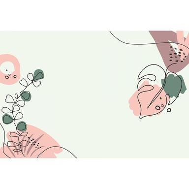 Livingwalls Fototapete ARTist Drawn Leaves mit gezeichneten Blättern grün, rosa, schwarz - Bild 1