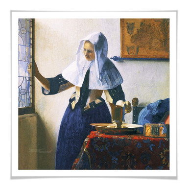Poster Vermeer - Junge Frau mit Wasserkanne am Fenster - quadratisch