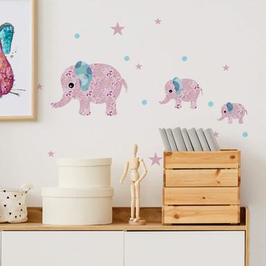 Wandtattoo Muster-Elefanten-Set rosa