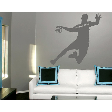 So kann es wirken: Das Motiv mit einem Beispieltext - Wandtattoo Wunschtext Handball