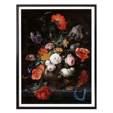 Poster Mignon - Stillleben mit Blumen und einer Uhr