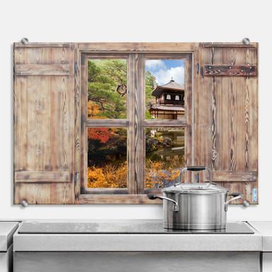 Spritzschutz 3D Holzfenster - Japanischer Tempel