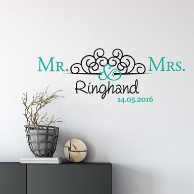 Wandtattoo & Name & Datum Mr. & Mrs. 02 (2-farbig)