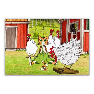 Hartschaumbild Pettersson und Findus - Hühnergeschichten