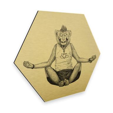 Hexagon - Alu-Dibond Goldeffekt Kools - Monkey Yoga