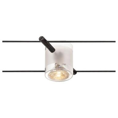 Tenseo Seilsystem, Strahler Comet, teilsatininertes Glas, schwarz
