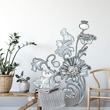 Wandsticker Blumenranke 2 grau