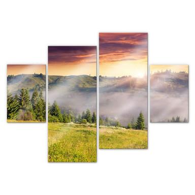 Acrylglasbild Bergtal im Nebel (4-teilig)