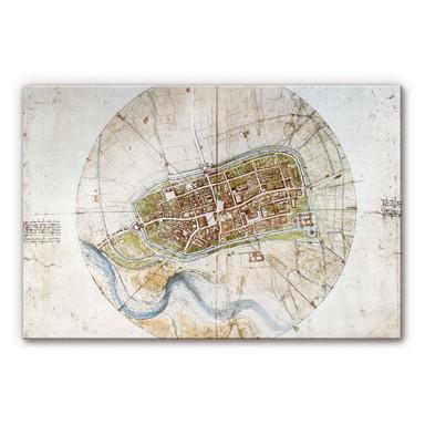 Acrylglasbild Da Vinci - Stadtplan von Imola