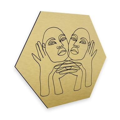 Hexagon - Alu-Dibond-Goldeffekt - Hariri - Phylli