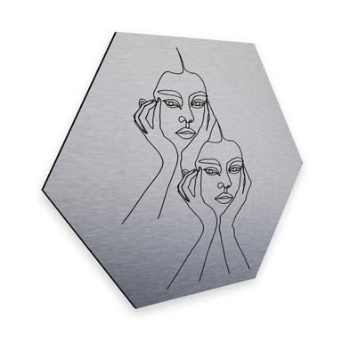 Hexagon - Alu-Dibond-Silbereffekt - Hariri - I'm pretty tired