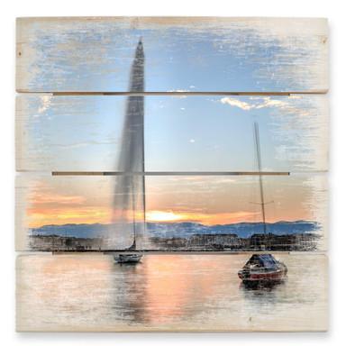 Holzbild Wasserfontäne im Genfer Sonnenuntergang