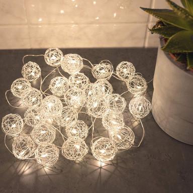 LED Lichterkette Drahtkugeln Silber 20-teilig - Bild 1