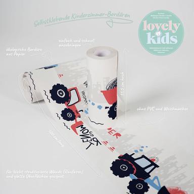 Lovely Kids selbstklebende Kinderzimmer Bordüre Super Tractor mit Traktoren und Baumaschinen
