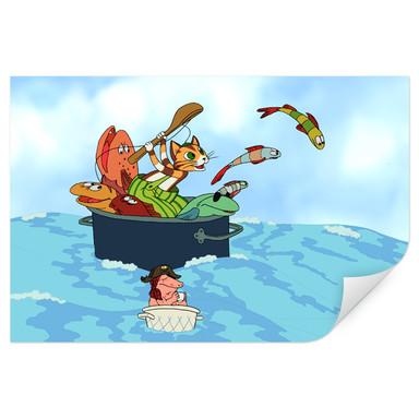Wallprint Pettersson und Findus - Fischjagd mit Freunden