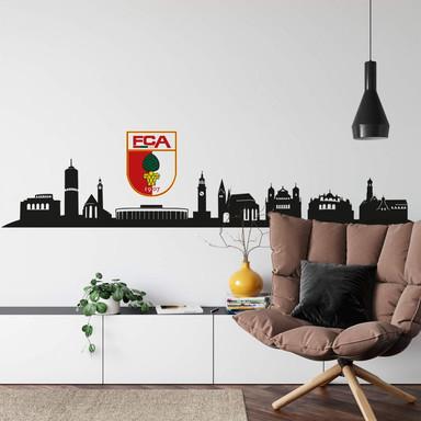Wandtattoo FC Augsburg Skyline mit Logo farbig