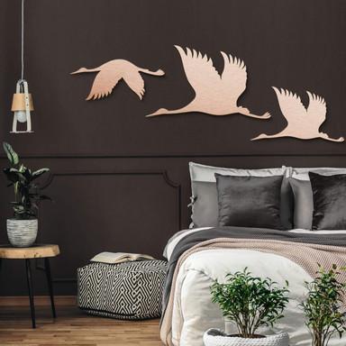 Alu-Dibond Kupfereffekt - Kraniche - Vogelschwarm 01