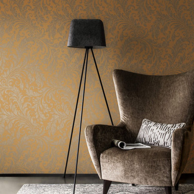 Architects Paper Textiltapete Di Seta Tapete mit floralen Ornamenten honiggelb, metallic