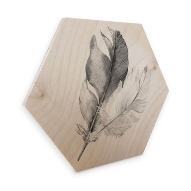 Hexagon - Holz Birke-Furnier - Federn