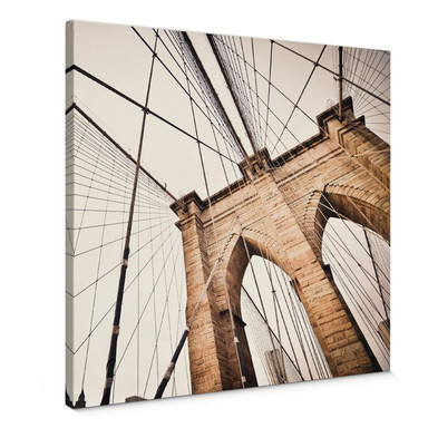 Leinwandbild Brooklyn Bridge Perspektive 2 - Quadratisch