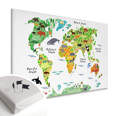 Leinwandbild mit Korkrückwand - Tierische Weltkarte