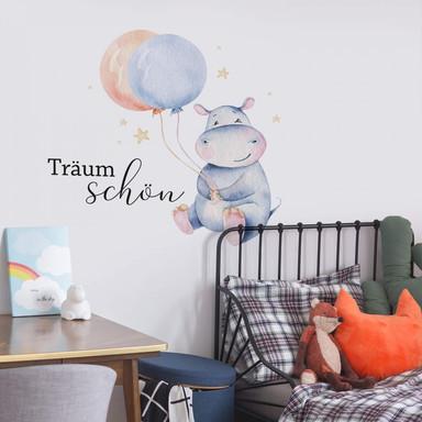 Wandtattoo Kvilis - Träum schön - Flusspferd mit Luftballons