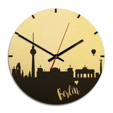 Wanduhr Alu-Dibond-Goldeffekt - Skyline Berlin - Ø 28cm - Bild 1