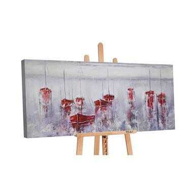 Acryl Gemälde handgemalt Stiller Hafen 140x70cm - Bild 1