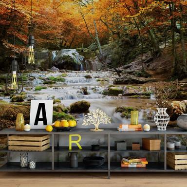 Fototapete - Autumn Waterfall - 240x260cm - Bild 1