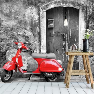 Fototapete Red Scooter sw - 384x260cm - Bild 1
